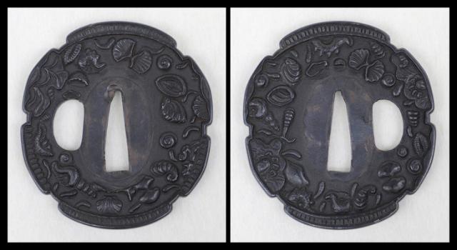 商品番号:T-646 鍔:牡丹獅子図 保存刀装具鑑定書付