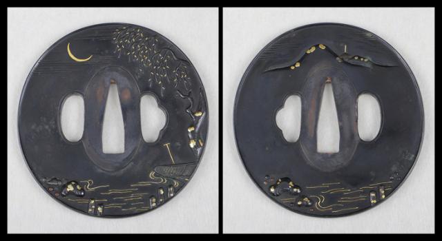 商品番号:T-658 鍔:梅花柴束透図 京正阿弥として保存刀装具鑑定書付