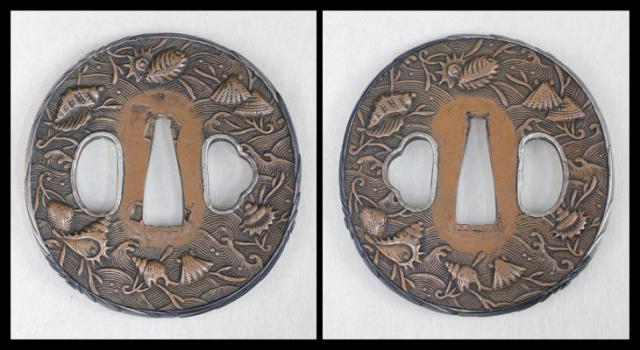商品番号:T-683 鍔:花桐透図 京透として保存刀装具鑑定書付