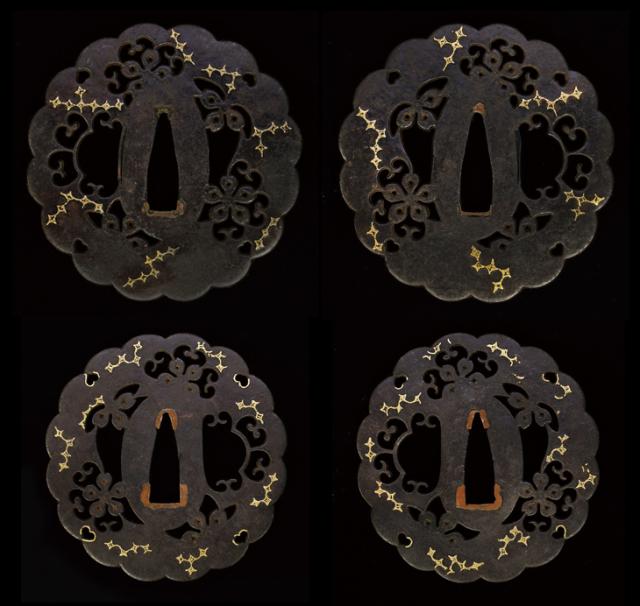 商品番号:T-695 大小鍔:桜花透金葛菱図 無銘林として保存刀装具鑑定書付