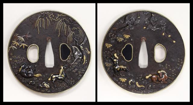 商品番号:T-808 鍔:梅竹群馬の図 銘・北川秀典 保存刀装具鑑定書付
