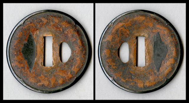商品番号:T-185 鍔:石目模様図 庄内で保存刀装具鑑定書付