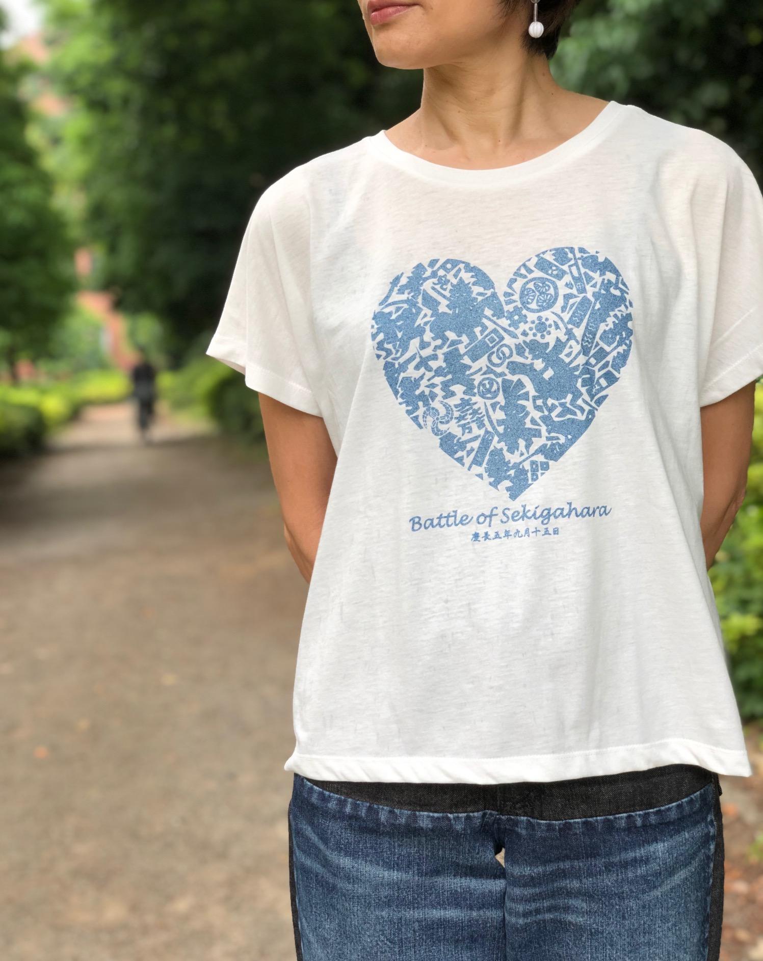 関ヶ原の戦いハート型イラストドルマンTシャツ 侍気分戦国グッズ