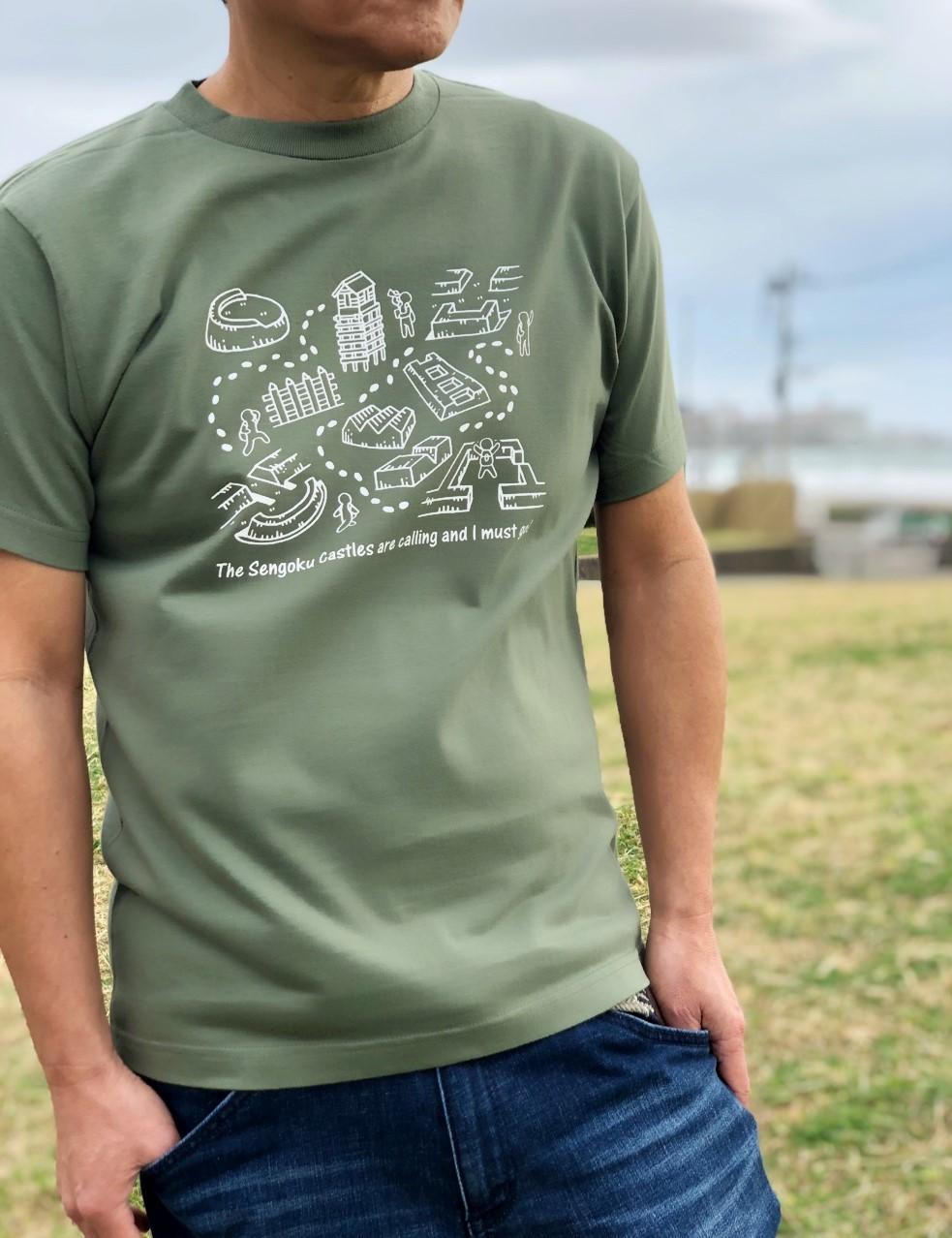 戦国のお城ハイキングイラストTシャツ