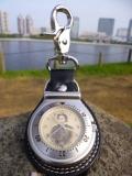 国内製クオーツ時計☆土方歳三・肖像文字盤 キーホルダー型☆バッグに簡単装着