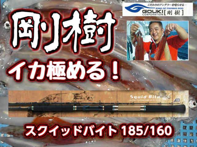 剛樹 Gチーム・スクイッドバイト 160/185 軽量のチューブラー イカ竿! (送料無料)