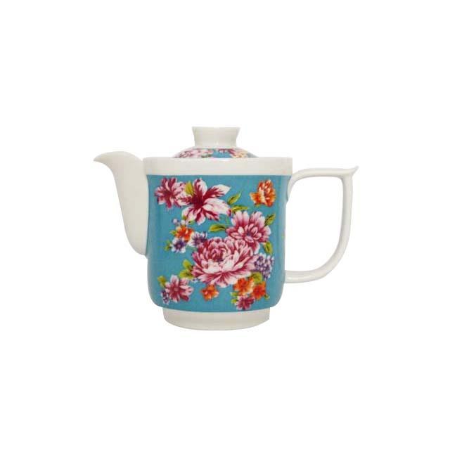 茶壺/磁器(ブルー 牡丹)