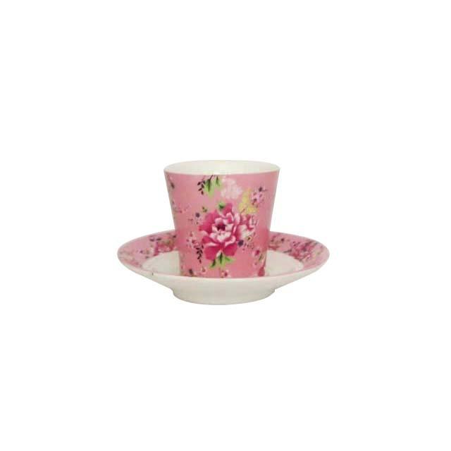 茶杯・茶托セット 牡丹 小(ピンク)