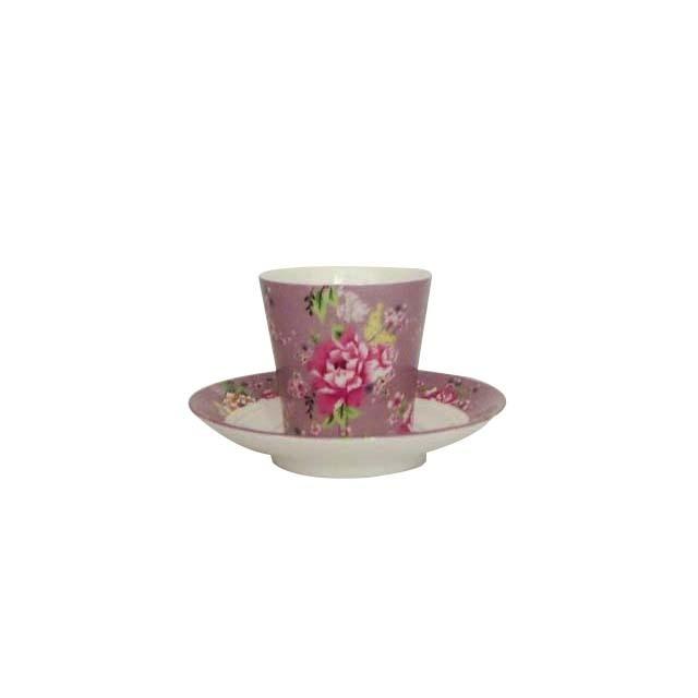 茶杯・茶托セット 牡丹 小(紫)