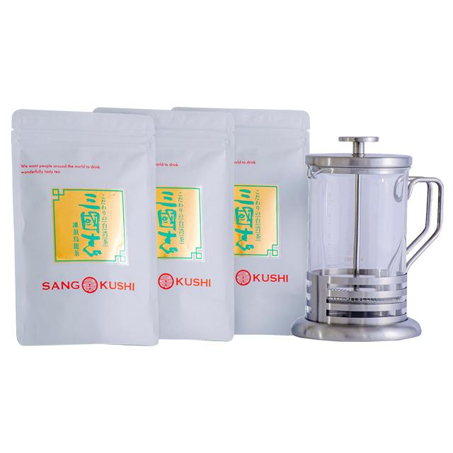 ティーサーバー&凍頂烏龍茶(茶葉)簡単お手軽セット(ティーサーバー600ml・茶葉85g×3)