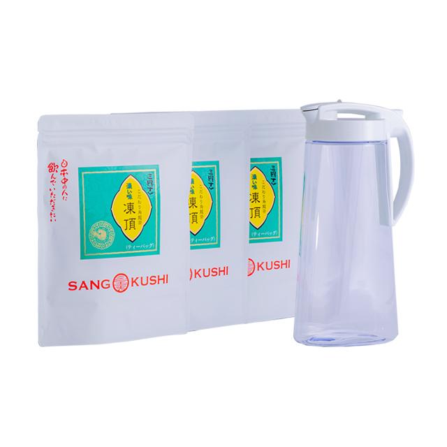 耐熱ティーポット&濃い味凍頂烏龍茶(ティーバッグ)簡単お手軽セット(ティーバッグ4g×35パック×3)