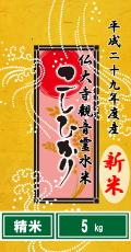 """平成29年度産""""新米""""仏大寺(ぶっだいじ)観音霊水米コシヒカリ5kg(精米)"""