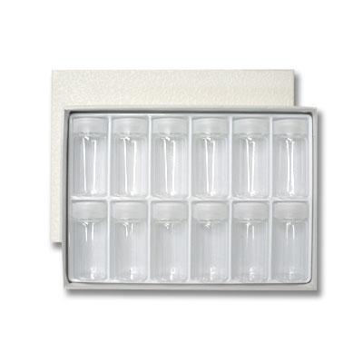 ガラス絵具瓶(20cc) 12本セット(ラベルシール付属、箱入り)