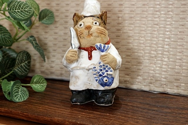 ささきようこ 猫 猫のコック 陶人形