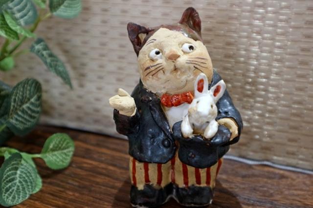 ささきようこ 猫 猫のマジシャン 陶人形