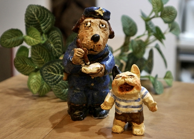 ささきようこ 犬 猫 陶人形