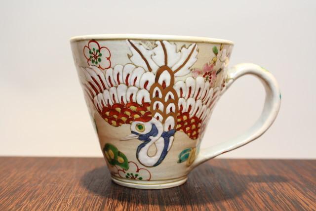 マグカップ・陶器・濱田高滋・鶴・長寿祝い