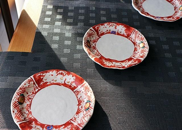 榛澤宏  6.5寸皿  赤絵