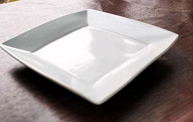 九谷青窯 白磁 正方皿 四角皿