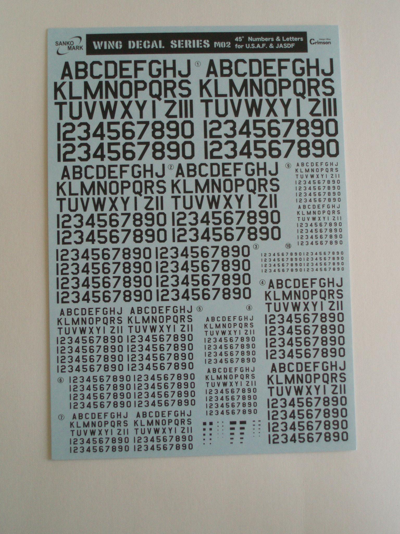 ナンバーデカールシリーズ MO2:45°黒 Numbers&Letters