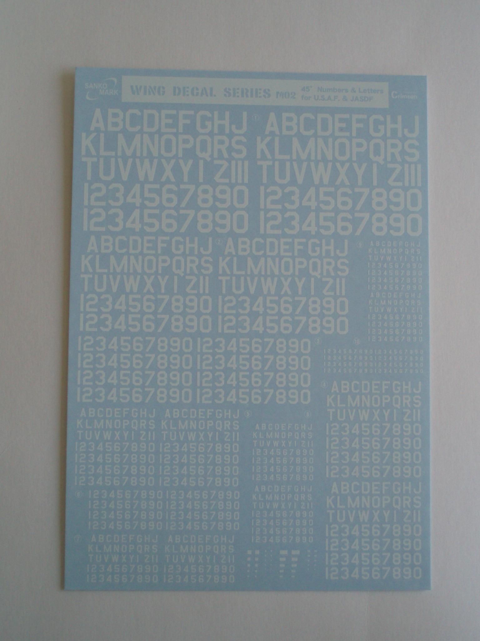 ナンバーデカールシリーズ MO2:45°白 Numbers&Letters