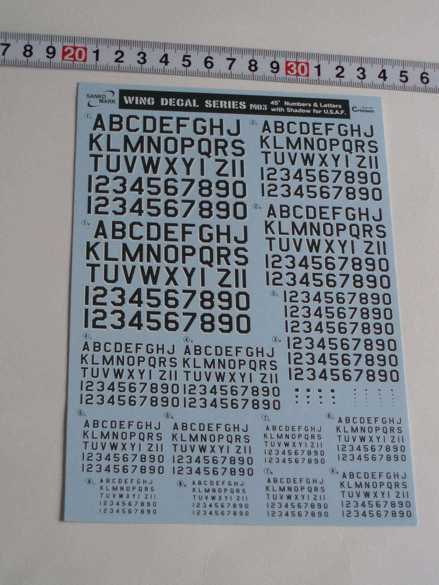 ナンバーデカールシリーズ MO3:シャドー45°グレー Numbers&Letters
