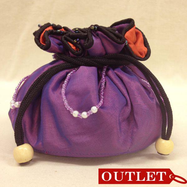 【特価】【アウトレットセール】(b321-01)_バッグ_巾着ポーチ(紫/オレンジ)