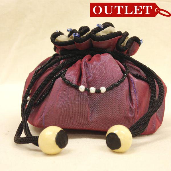 【特価】【アウトレットセール】(b323-01)_バッグ_巾着ポーチ(赤紫/浅黄)