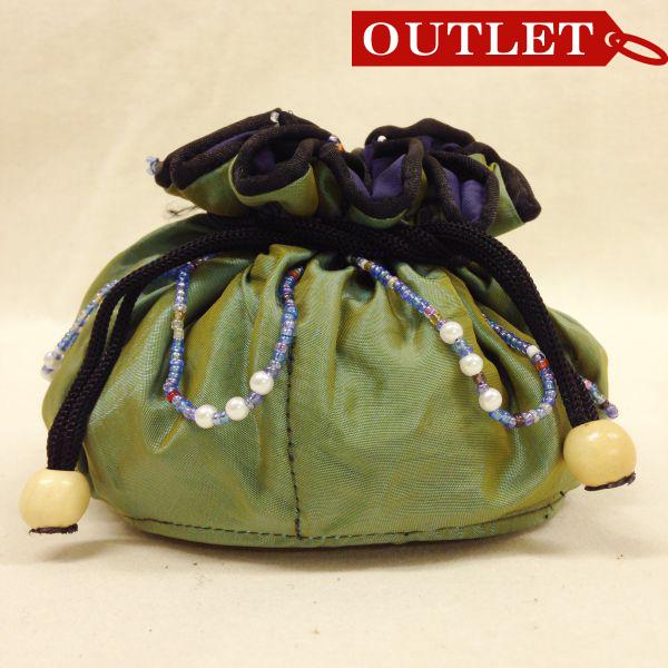 【特価】【アウトレットセール】(b324-01)_バッグ_巾着ポーチ(シャンブレー緑/紺)