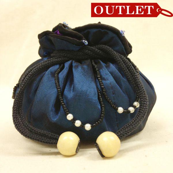 【特価】【アウトレットセール】(b326-01)_バッグ_巾着ポーチ(藍色/紫)
