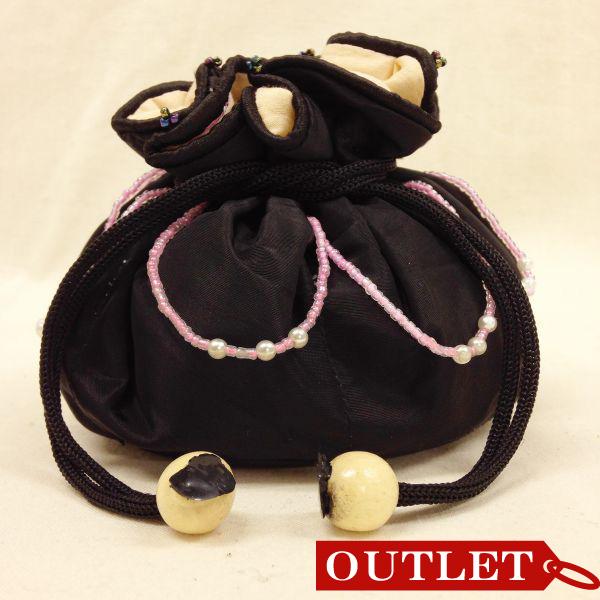 【特価】【アウトレットセール】(b327-01)_バッグ_巾着ポーチ(黒/シェルピンク)