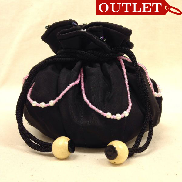 【特価】【アウトレットセール】(b328-01)_バッグ_巾着ポーチ(黒/グレー)