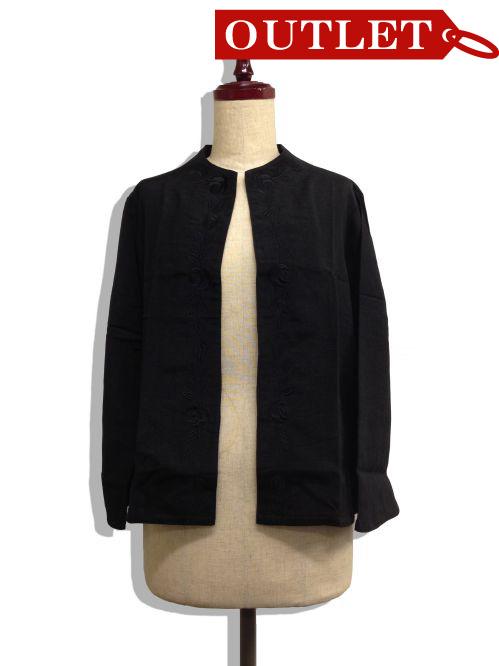 【特価】【アウトレットセール】(fn060-L-01)_Lサイズ_トップス_長袖_ブラックジャケット(柄001)