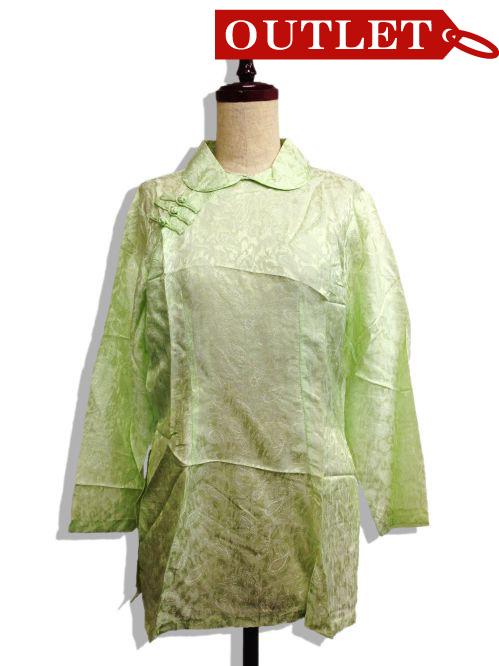 【特価】【アウトレットセール】(fn105-M-01)_Mサイズ_トップス_長袖_アオザイ風_丸襟シャツ(薄緑)