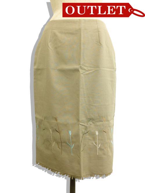 【特価】【アウトレットセール】(fop034-L-01)_Lサイズ_ボトムス_スカート_ダークカーキ色フリンジスカート
