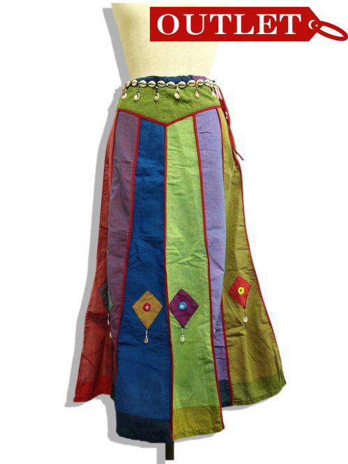 【特価】【アウトレットセール】(fop063-M-01)_Mサイズ_ボトムス_スカート_貝殻装飾スカート(001)