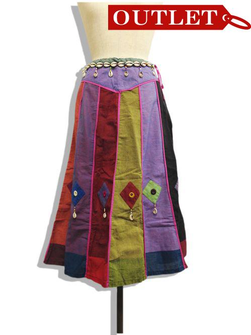 【特価】【アウトレットセール】(fop064-M-01)_Mサイズ_ボトムス_スカート_貝殻装飾スカート(002)