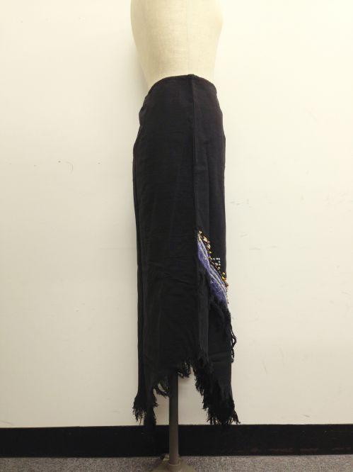 【特価】【アウトレットセール】(fop067-L-03)_Lサイズ_ボトムス_スカート_貝装飾スカート_黒/青(003)