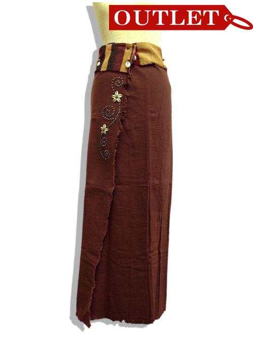 【特価】【アウトレットセール】(fop069-L-01)_Lサイズ_ボトムス_スカート_貝装飾付き巻スカート_茶/青