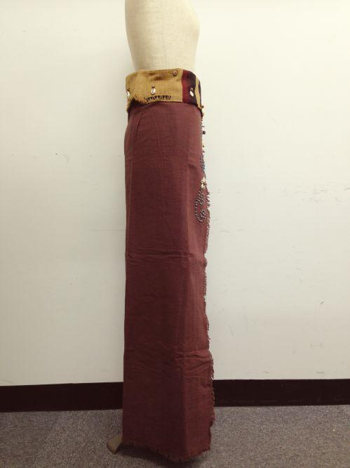 【特価】【アウトレットセール】(fop069-L-03)_Lサイズ_ボトムス_スカート_貝装飾付き巻スカート_茶/青