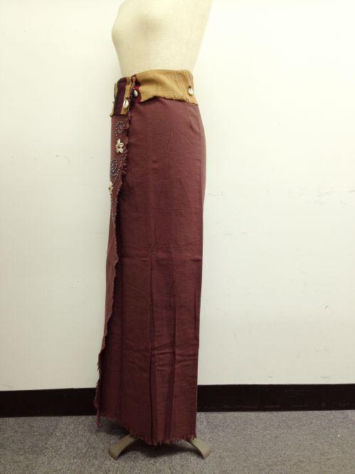 【特価】【アウトレットセール】(fop069-L-05)_Lサイズ_ボトムス_スカート_貝装飾付き巻スカート_茶/青