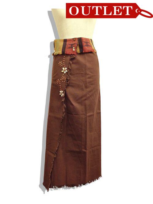 【特価】【アウトレットセール】(fop070-M-01)_Mサイズ_ボトムス_スカート_貝装飾付き巻スカート_茶/オレンジ
