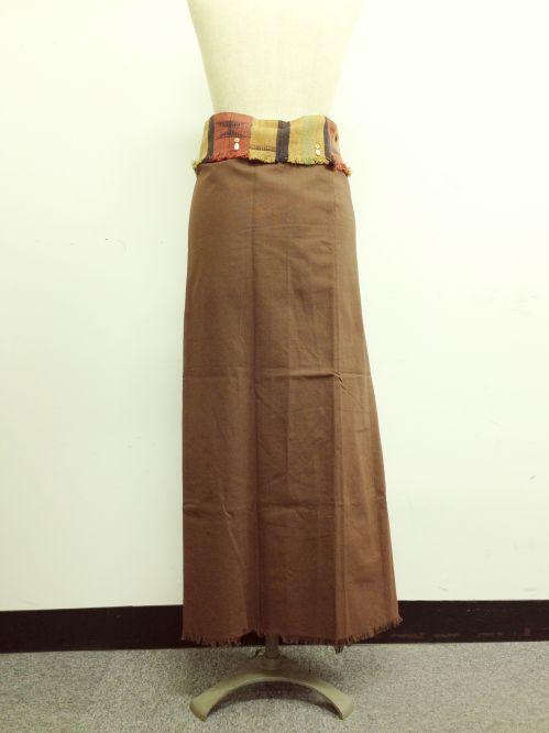 【特価】【アウトレットセール】(fop070-M-04)_Mサイズ_ボトムス_スカート_貝装飾付き巻スカート_茶/オレンジ