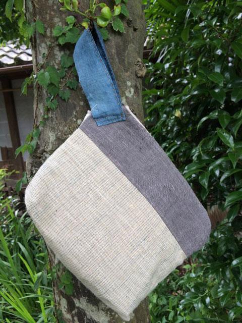 宮崎朝子・手織りヘンプクラッチバッグ