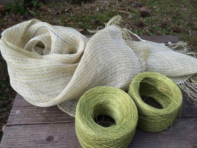 宮崎朝子・おお麻(ヘンプ)手織りマフラー【黄緑のストライプ】