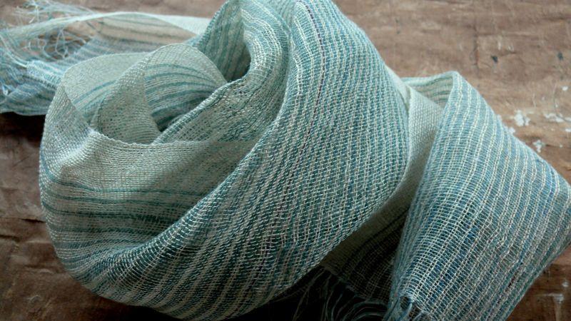 宮崎朝子・おお麻(ヘンプ)手織りマフラー【グリーンのストライプ】