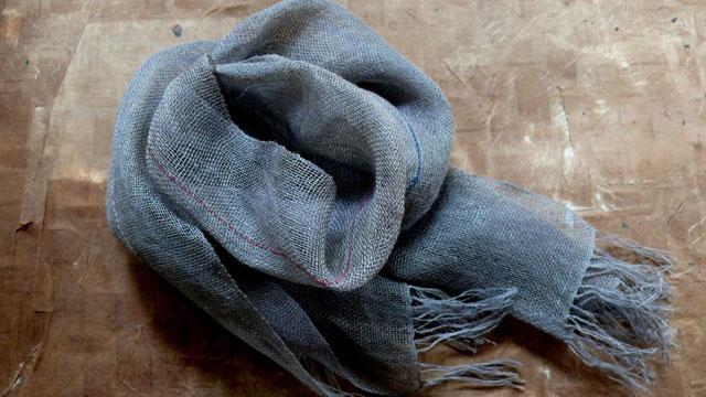 宮崎朝子・おお麻(ヘンプ)手織りマフラー