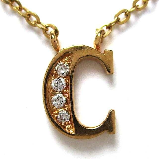 レディースネックレス アルファベットC(ダイヤモンド) K18 トップW6.5*H10mm - TAK2100230