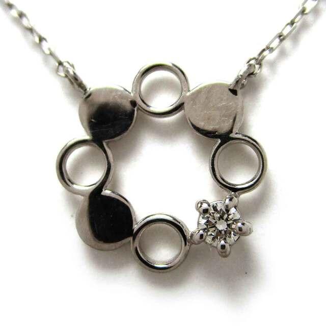 レディースネックレス ダイヤモンド(1P) Pt850 トップW9.5*H9.5mm - TAK2100496