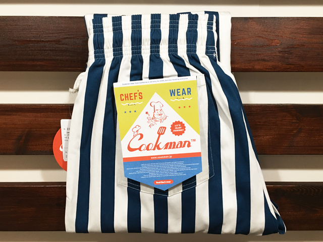 COOKMAN LOS ANGELES CALIFORNIA CHEF PANTS WIDE STRIPE NAVY×WHITE